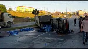 Çatalcada freni patlayan kamyon otomobili altına aldı: 4 yaralı