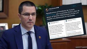 Venezueladan Cumhurbaşkanı Erdoğana teşekkür