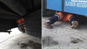 Otobüsün altına saklanarak yurt dışına kaçmak istedi