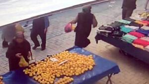 Pazardaki limon hırsızlığı kamerada