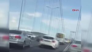 15 Temmuz Şehitler Köprüsünde makas atarak ilerleyer sürücü kamerada