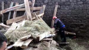 Erzurumda ahır inşaatında çökme: 1 ölü, 3 yaralı