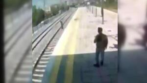 Küçükçekmecede intihara kalkışan kadını tren önünden son anda kurtardı