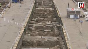 Haydarpaşa'da ortaya çıkan 1700 yıllık tarih havadan görüntülendi