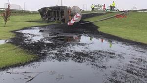 TEM Çatalcada zift yüklü tanker devrildi