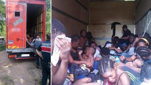 Kamyon kasasında 35 kaçak göçmen yakalandı