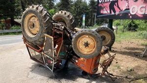 Traktör takla attı, sürücü ölümden döndü