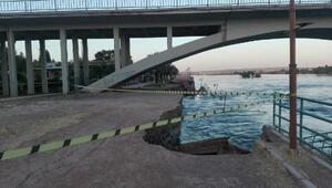 Birecikte Fırat Nehri kıyısındaki yol çöktü
