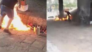 Arjantinde evsizlerin üzerine alkol döküp yaktılar