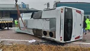 Balıkesirde otobüs devrildi: 1 ölü, 8 yaralı