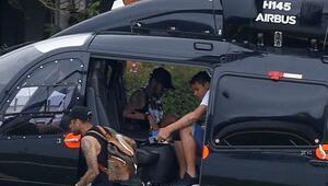 Neymar helikopterle idman sahasına indi
