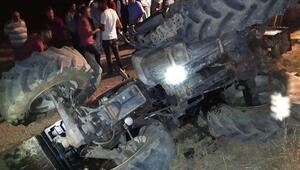Adıyamanda devrilen traktörün sürücüsü yaralandı
