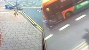 Önce bisikletten düştü, sonra otobüs çarptı