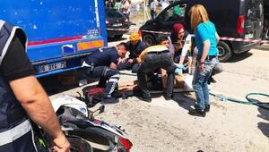 Kamyona çarpan motosikletin sürücüsü ağır yaralandı