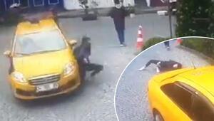 Korkunç an Taksici yolda yürüyen genç kızı böyle ezdi
