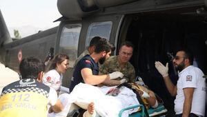 Silopide kazazede askeri helikopterle hastaneye sevk edildi