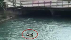 Sulama kanalında tehlikeli eğlence