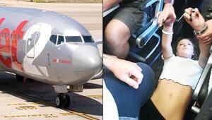 Londra-Dalaman uçağında olay çıkaran kadına jet müdahale
