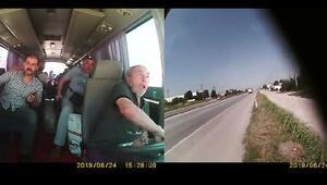 Servis midibüsü devrildi; işçiler ve sürücünün yaşadıkları kamerada