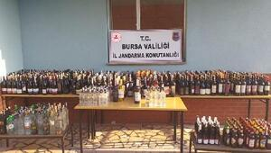 Bursada jandarmadan sahte alkol uygulaması; 436 litre sahte içki ele geçirildi