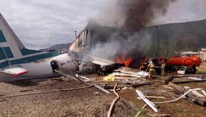 Acil iniş yapan yolcu uçağı pistten çıktı