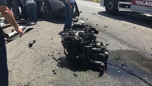 TIRın çarptığı otomobilin sürücüsü ağır yaralandı