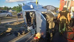 Tuzlada bariyerlere çapan otomobil takla attı: 2 yaralı