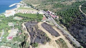 Menderesteki yangının kül ettiği bölge, havadan görüntülendi