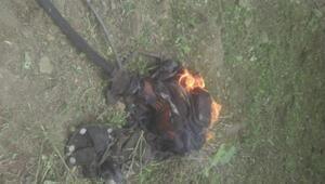 Motorlu ot tırpanı sırtında patladı