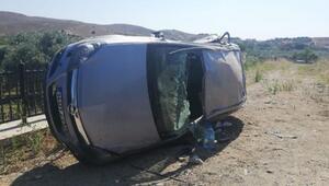 Alkollü sürücü takla attı araçta kimsenin burnu bile kanamadı