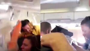 Uçakta dehşet anları Ölüm teğet geçti