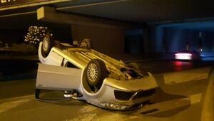 Bayrampaşada otomobil takla attı: 1 yaralı