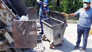 Hisarcıkta, çöp konteynerleri dezenfekte ediliyor