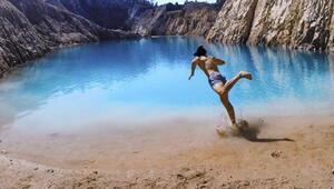 Instagram için fotoğraf çektirdikleri göl kimyasal çıktı