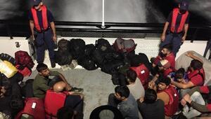 Edirnede lastik botta 41 kaçak göçmen yakalandı