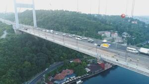 FSM Köprüsündeki asfalt çalışmasının son hali havadan görüntülendi