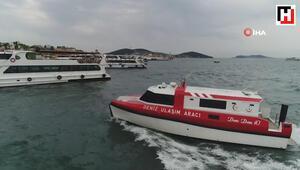 Deniz ambulanslarının zamanla yarışı havadan görüntülendi