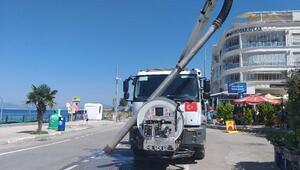 Mudanya'da kanalizasyon hattı temizliği