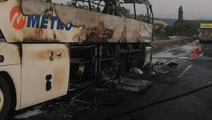 Manisada seyir halindeki yolcu otobüsü yandı