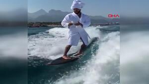Rus şarkıcının dalga sörfü paylaşımını milyonlar izledi