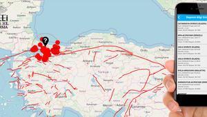 Türkiyede depremleri sıcağı sıcağına haber veren uygulama