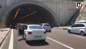 Orhangazi Tünelinde araç yandı trafik durdu
