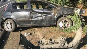 TEMde otomobil takla attı: 2 yaralı