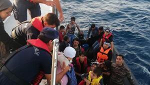 Edirnede lastik botta 34 kaçak göçmen yakalandı