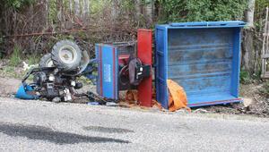 Devrilen tarım aracının sürücüsü öldü