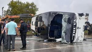 Çanakkale Bigada yolcu otobüsü devrildi