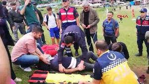 Ayderde salıncaktan düşen adam yaralandı