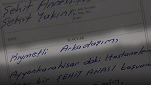 Şehit annesine yazdığı reçete gözyaşlarına boğdu