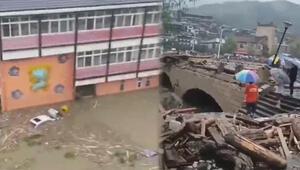 Çinde şiddetli yağış sonrası heyelan