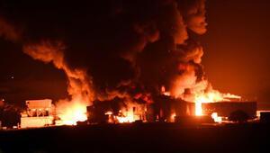 Çorluda fabrika alev alev yandı